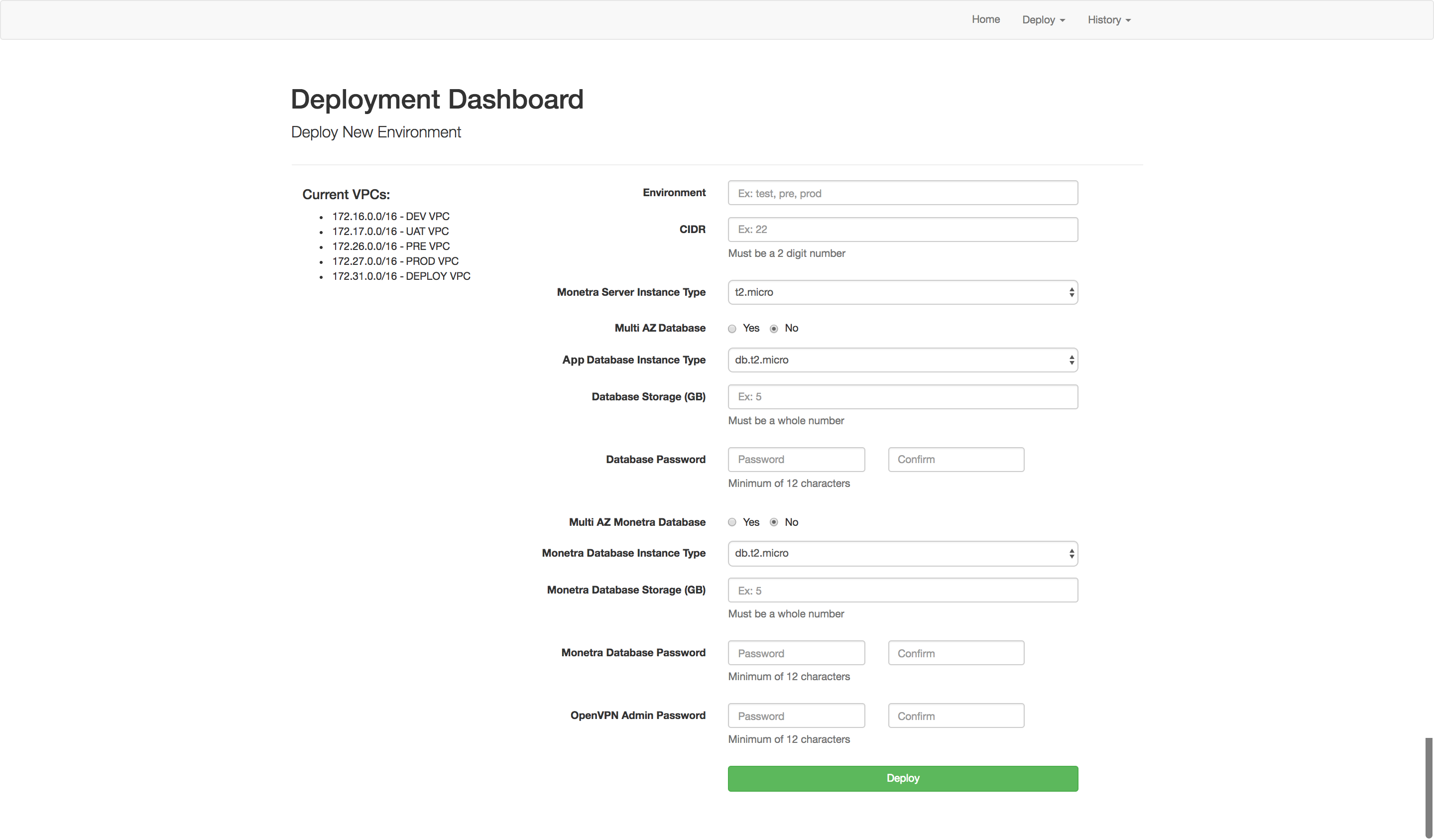 Deployment Dashboard